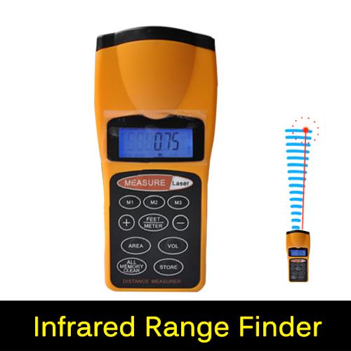 100% Original Handheld Infrared Ultrasonic Distance Meter + Laser Pointer Digital Tape Range Finder Measurer to 18M, CP3007(China (Mainland))