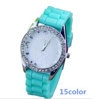 2014 Limited Top Fasion Glass Stainless Steel Analog Teddy Bear Casual Watch Women Quartz Watches Wristwatch Sports reloj mujer