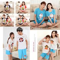 Розничная летние пижамы наборы для мужчин и женщин вокруг шеи хлопок пары пижамы домашняя одежда для любителей