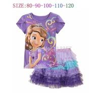 2014 New Kids Apparels Sofia Princess Top+Skirt Girls Peppa pig Clothing Sets Girl Summer 2-Piece Suit Sets T-shirt+ Short Pant