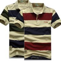 2014 summer new men's striped polo shirt brand of high quality 100% cotton men's short-sleeved polo shirt M/3XL