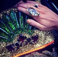 12 Style 2014 new Korean big geometric studded gem bijouterie imitate sequins handbag women's Cosmetic bags & cases