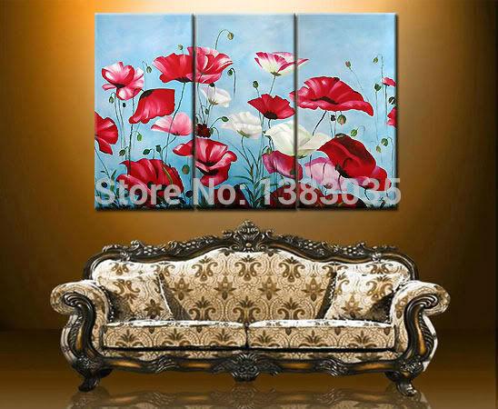 abstrata pintados à mão flores vermelhas e brancas papoula pinturas 3 peças de parede de arte óleo moderna decoração arte imagem conjuntos(China (Mainland))