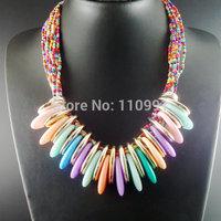 Neon Handmade New Unique Big Bib Chunky Choker Ethnic Beaded Statement Chain Jewelry For Women