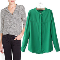 za 2014  autumn new women collar rolled up their sleeves chiffon long-sleeved shirt