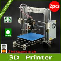 DHL Free Shipping 2PCS Prusa Reprap i3 3D printer DIY kit A600 impressora 3D With Two Roll 1.75/3.0mm PLA Filaments