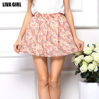 2015 New arrival Summer explosion short skirt fashion Floral Chiffon Skirt female high-end Pretty attractive skirt MT0207