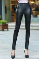 Large Size L-4XL Stretch Lace Design Women Slim SKINNY Leggings Korean Fashion Lady Leather Pencil Pants