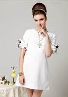 2014 New Fashion casual solid Korean style women summer elegant white/black flower half sleeve party /cocktail /office  dress
