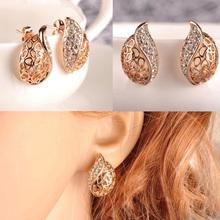 Fashion Chic Womens Clear Crystal Rhinestone Silver Plated Ear Stud Earrings Jewelry Drop Shipping EAR-0134(China (Mainland))