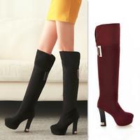 Woman'S Boot Over Knee High Boots For Plus Size Women Platform Thick Heel Sapatos De Salto Alto Bota Cano Longo Long Free Shippi