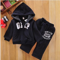 2014 new Hot sell boys girls 14children winter wool sherpa baby sports suit jacket sweater coat & pants thicken kids clothes set