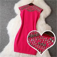 2014 New Fashion Desigual Knitting Women Dress Casual Handmade Beading Elastic Slim Dress Celebrity Dresses Queen Temperament