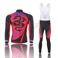 Freefisher Men's Cycling Bicycle Long Sleeve Jersey/Pants/Bib Pants Set Red