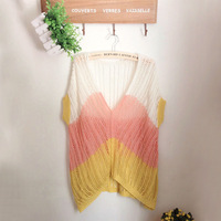 2014 new women's casual short-sleeved pullover hollow hit the color gold thread female casual short-sleeved sweater