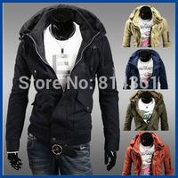 Hot Sale 2014 New Parka Men's Winter Jacket Coat Double Collar Zipper Decoration Windproof Warm Men Casual-Jacket Free Shipping