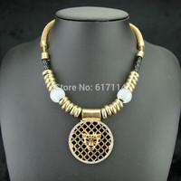 Newest Big Brand Vintage Leopard Pendant Necklace Women Luxury Rhinestone Gold Choker Necklace Jewelry Free Shipping