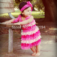 Lace Striped Child Dress Design Bow Decorate Lace Dress Knee Length Girl Ruffle Dress For 2-8T Free Shipping