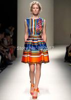 New Women Dress Blue Orange Black White Stripe Sleeveless Fashion Pleated Mini Dress Free Shipping Retail 1 PCS
