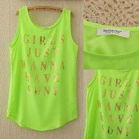 336 Blusas Femininas Ladies Blouses 2014 New Summer Women Sleeveless O-Neck Casual Golden Letter Print Shirt Chiffon Blouse