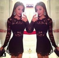 2014 New Black long sleeve lace dress sweet hollow splice sexy female New fashion vestidos bandage Party dress D05