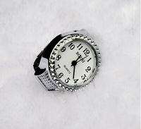 coated stone lacework  ring watch  Finger Ring Watch with stretchable  Steel  watchbands Elastic Quartz