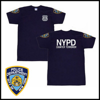NYPD New York Police Department Uniform Armband T-shirt 100% Cotton Short Sleeved Training T Shirt Tee, Free Shipping!