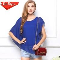 Casual fashion blusas femininas 2014, trade large size women's new summer coat irregular short-sleeved t-shirt flounced chiffon