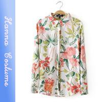 New flower print fashion women blouses 2014 autumn blusas femininas woman clothes tops
