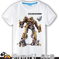 Cotton short sleeve children t shirts, cute cartoon,game boys girls figure kids wear 2014 spring new Robot Optimus Prime