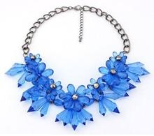 Big flower shourouk necklace/kpop bohemian blue necklaces crystal jewelry wome/maxi colar/bijoux/collier/sautoir/jewlery/jewerly