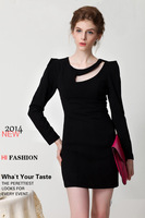 2014 New Casual Women Autumn and Winter Novelty Elegant Dress Flourescent green/ Black  Hallow out neck Solid dress WL 1696