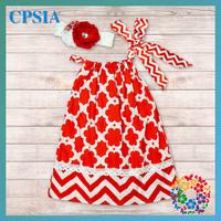 Xmas Design Kid Dress Soft Baby Cotton Frock Chevron Pillowcase Dress wholesale Clothing Boutique  24pcs/lot