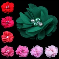 """(50pcs/lot)2"""" 20 Colors Lace Flower For Baby Hair Accessories Mini Chiffon Flowers With Pearl Rhinestone Center For Hair Clips"""