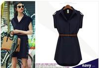 Fashion Women Ladies Cap Sleeve Chiffon Casual OL Belt Shirt One Piece Mini Dress Blue Khaki M L XL XXL Plus Size Free Shipping