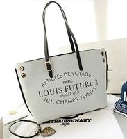 2014 autumn new bag canvas bag women fashion shoulder bag letter canvas big bag free shipping