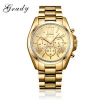 2014 New fashion men chronograph silver bracelet watch men's watch