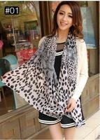 Free Shipping 2014 new Fashion Womens Chiffon Velvet Scarves Geometric Animals Scarves Solemn Elegant