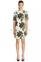 2014 New Fashion women sexy elegant flower printed short sleeve dress Lady slim brand design dresses high quality#J212