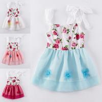 Girls Dress Summer Brand Kids Children Baby Princess Infantil Print Flower Lace Casual Fashion Party Tutu Vestidos Dress Clothes