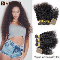 Brazilian Virgin Hair Extensions Deep Wave Curly 3pcs Brazilian Virgin Hair Bundles With 1 pcs lace closure Human Hair Weaves