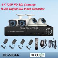 4CH Full HD720P SDI DVR Kit, 4 HD SDI 2.8~12mm bullet Cameras, 4CH 1080P HD SDI DVR, 2 years Warranty, Free shipping by DHL