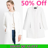 European Fashion 2014 New Winter Coat Women Brand Wool Coat Long Sleeve With Pockets and Zipper Overcoat Plus Size In Stock