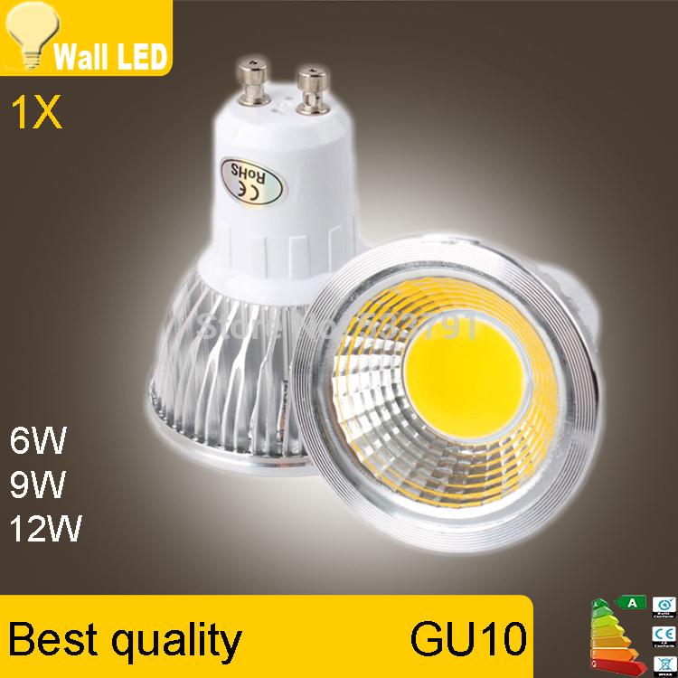 Super Bright GU 10 Bulbs Light Dimmable Led Warm/White 85-265V 6W 9W 12W GU10 COB LED lamp light GU 10 led Spotlight(China (Mainland))