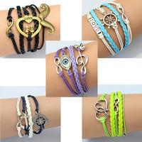 2014 wholesale DIY Fashion trendy retro handmade Zinc Alloy rope chain women Bracelets wristband wristlet 50pcs