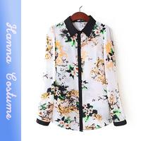 2014 new fall fashion print chiffon shirt women autumn long sleeve blouses blusas femininas for woman