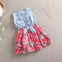 Girls Denim Bow Big Flower Ruffled Sundress Jean Princess 2-6Y Free Drop & Shipping