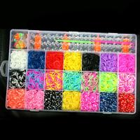 Free shipping 1set loom storage box loom bands kit 4200pcs colorful rubber bands loom band set for bracelet bangle FXU034-99