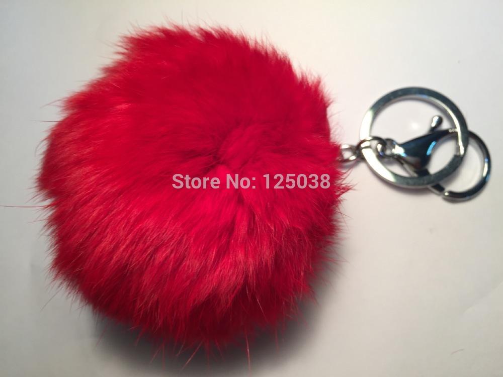 Hanna Cai Store handmade Real rabbit fur ball Cute Genuine Leather Rabbit fur ball plush key chain for car key ring Bag(China (Mainland))