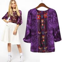 za 2014 brand new women's European and American retro national wind printing Lantern Sleeve Shirt blouse